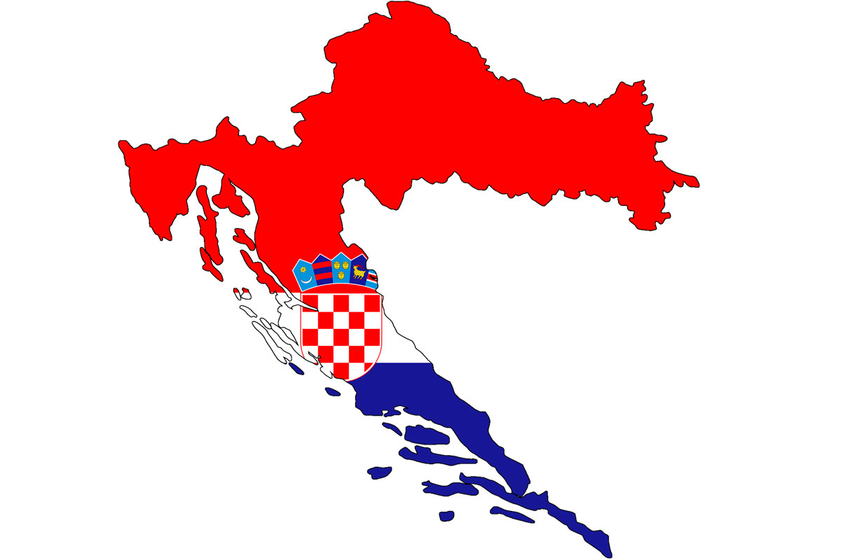 Croatia Map with flag